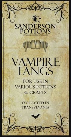 Halloween Potion Label - Vampire Fangs
