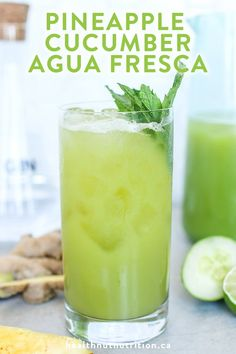 Pineapple Cucumber Agua Fresca - Healthnut Nutrition Pineapple Cucumber Agua Fresca made with refreshing cucumber, pineapple, ginger, mint and zesty lime juice is the perfect mocktail on a hot summer day! Healthy Juices, Healthy Smoothies, Healthy Drinks, Healthy Water, Healthy Fit, Healthy Detox, Healthy Recipes, Detox Juice Recipes, Detox Drinks