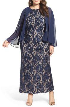 Main Image - Alex Evenings Capelet Lace Column Gown (Plus Size)