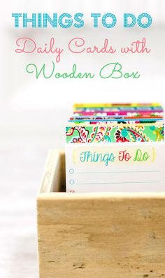 cute gift idea for tracking 100 things i want to do in my life; great for journaling or writing ideas... Things To Do daily journal cards with rustic wood box