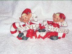 Vintage Christmas Candy Cane Santa Sleigh Pixie Elf Lefton Napco Porcelain hard to find Figurine Ornament Decoration Japan by BrilbunnySelections on Etsy https://www.etsy.com/listing/115448296/vintage-christmas-candy-cane-santa
