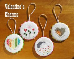 Valentine's Charms...canning lids covered with fabric, applique & embroidery