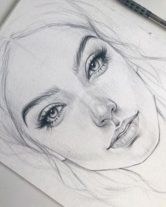 Pencil Drawings En raison d'un défaut de papier, la jeune fille aura une cicatrice sur la joue :( Из-за д . Portrait Au Crayon, Pencil Portrait, Pencil Art Drawings, Art Drawings Sketches, Sketches Of Faces, Face Pencil Drawing, Sketches Of People, Portrait Sketches, Sketches Of Girls