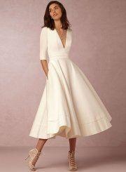 A-Line V Neck Half Sleeve Midi Party Dress