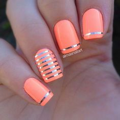 Orange and silver stripe nailart #nailart #nails #summer #silver #orange #stripe