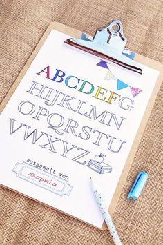 Freebie: Malvorlage Alphabet zur Einschulung + viele tolle Ideen für eine Einschulungsparty auf dem Minidrops Blog