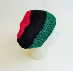 Pan African Beret Tam, Regular size Tam, Unisex Beret Tams, Red Black and Green Flag Colors, Ti Stephani Crochet Hats 2015, All Season Tams by TiStephani on Etsy