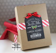 Pretty Packaging by Laurie Willison. Reverse Confetti stamp sets: North Pole Wishes, So Stripey and Tinsel 'n Trim. Confetti Cuts: Tagged Tote. Christmas wrap.