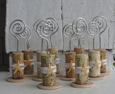 Starfish Wine Cork Place Card Holders Or Picture Holders With White Ribbon- Set of 10 - Wedding - Party