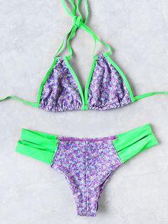 7bb0354c8 SheIn - SheIn Contrast Trim Cutout Halter Bikini Set - AdoreWe.com Praia,  Biquini