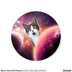 Space Cats LOL Funny Classic Round Sticker