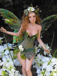 """""""Emma - Spring Fairy"""" by Amanda Haney - this too is a OOAK polymer clay sculpture art doll, not a customized fashion doll."""
