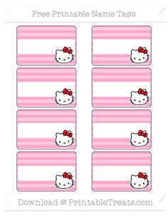 Free Carnation Pink Horizontal Striped  Hello Kitty Name Tags