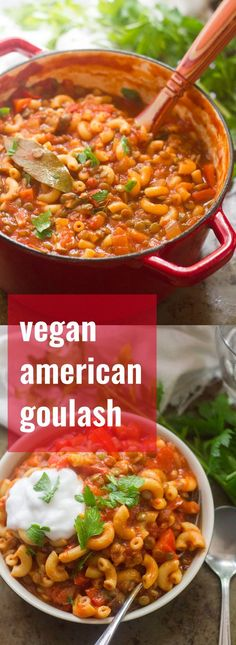 Lentils and mushrooms are simmered up with macaroni pasta and smoky, savory tomato sauce to make this easy and comforting vegan American goulash.