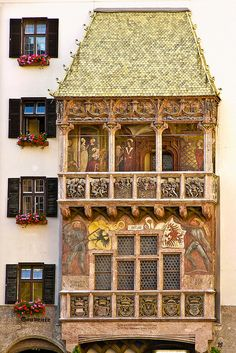 The Golden Roof, a historic Austrian landmark built in the Innsbruck, Tyrol, Austria. Innsbruck, Places Around The World, Oh The Places You'll Go, Places To Travel, Around The Worlds, Wonderful Places, Great Places, Beautiful Places, Austria Travel