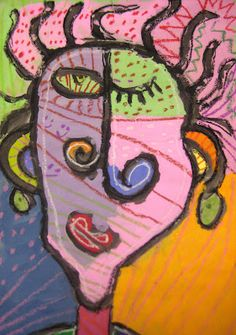Abstract Self Portraits from   Experiments in Art Education: 3rd Grade