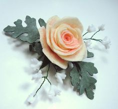 Hair Clip Rose Baby's Breath Dusty Miller Floral by Annadorables