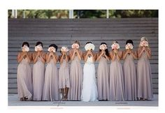 Cute bride with her bridesmaids photo