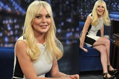 Here we have Lindsay Lohan, wearing a short dress, appearing for the Late Night with Jimmy Fallon show. The actress shows she has got some legs, and with some right moves of her thighs, might still make it to the chartbusters.    Lindsay seems to be the other one like Kristen Stewart who gave the Oscars a miss.    There are 23 photos of Lindsay Lohan in this picture gallery. Collect them all and Enjoy!