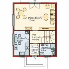 Rzut parteru budynku według projektu Domek Mały 004 ES Floor Plans, Architecture, Arquitetura, Architecture Design, Floor Plan Drawing, House Floor Plans
