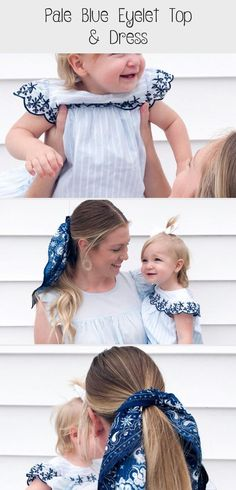 Pale Blue Eyelet | Everley & Me | Omaha Based Mommy & Me Style Blog... Hair Scarf Blue Blouse Embroidered Dress Kids Womens Bows Matching Outfits Family, Mother/Daughter Photoshoot #summerhairstylesStepByStep #summerhairstylesBob #summerhairstylesTrends #summerhairstylesAsian #summerhairstylesIdeas