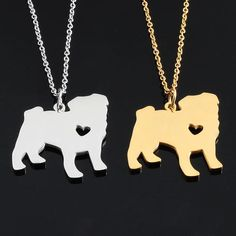 Silver And Gold Heart Necklace (Keep Your Pug Close To Your heart)