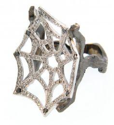 atelier minyon - 18K Black and White Diamond Web Ring.