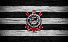Download wallpapers Corinthians, 4k, Brazilian Seria A, logo, Brazil, soccer, Corinthians FC, football club, wooden texture, FC Corinthians