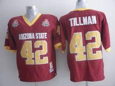 Sun Devils #42 Pat Tillman Red 1997 Rose Bowl Patch Embroidered NCAA Jersey prices USD $21.50 #cheapjerseys #sportsjerseys #popular jerseys #NFL #MLB #NBA