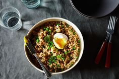 Farro Risotto with Sausage, Mushroom, Peas, and a Poached Egg recipe on Food52