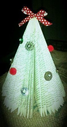 Christmas tree out of old book.