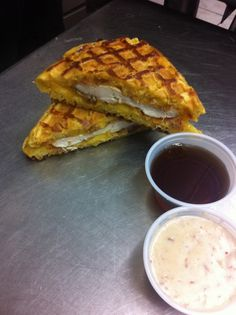 Chicken and Waffle sandwich from the Grilled Cheese Truck (with maple syrup or gravy) #bucketlistcheckoff !