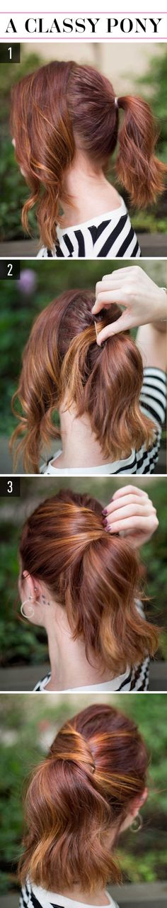 15 Super-Easy Hairstyles for Lazy Girls Who Can't Even  Try this *super* easy look, the classy pony!
