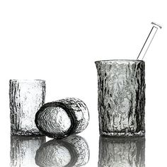 Vitreluxe Stump Cocktail Set - An oak branch was processed into a bronze blow mold where a bubble of glass was blown inside, creating oak bark texture just like the original branch, complete with a live edge detail on the lip and nail stir stick.