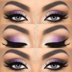 Awesome neon lilac shadow on top of black and white liner, looks so awesome!!