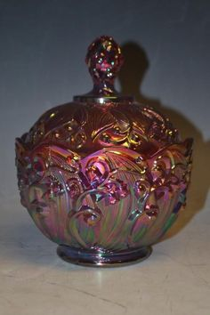 Fenton Red Carnival Glass. Lily of the Valley design.