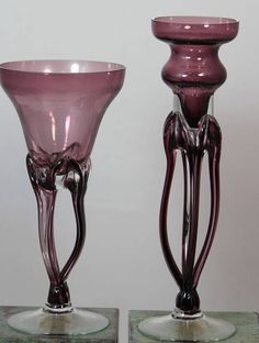 2 Purple Makora Krosno Hand Blown Glass Candle Holders Made in