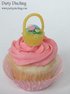 Easter cupcake topper, Easter basket cupcake, Gumdrop Easter basket, Easter dessert ideas, Easter dessert table, Easter treats for kids, easy Easter desserts, Easter cupcakes