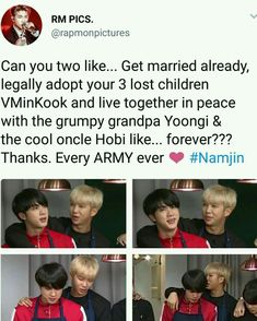 If only Namjin would become a official reality. Bts Memes, Vkook Memes, Funny Memes, Namjin, Taekook, K Pop, Got7, Taehyung, Bts Love