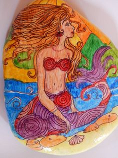 The Call of the Sea.   Mermaid Hand Painted Stone