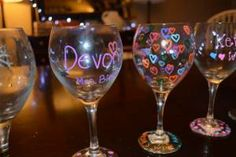 Painting Glasses as an Party Activity for adults or Bachelorette Party