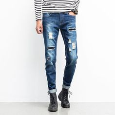 Find More Shorts Information about Autumn New Jeans Men Mid Waist Slim Fit Ripped Jeans For Men High Quality Blue Denim Pant Men Rock Jeans Trousers Factory Outlet,High Quality jeans collection,China jeans loose Suppliers, Cheap jean rivet from Eric's on Aliexpress.com