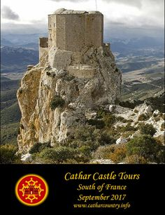 Quéribus,  Cucugnan, Aude, Languedoc, France....     www.catharcountry.info    ...     Tour places still available for 2017  Quéribus is sometimes regarded as the last Cathar stronghold. In a sense it was. After the fall of the Château of Montségur in 1244 surviving Cathars gathered together in the Corbières at this mountain-top stronghold on the border of Aragon.