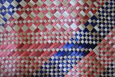Salmon and indigo banig weave from the Philippines Philippines Culture, Filipiniana, Plant Fibres, Ethnic Design, Weaving Patterns, Tribal Art, Print Patterns, Hand Weaving, Eye Candy