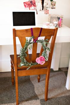 Clean and lovely flowers for chair