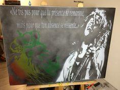 Tableau d'une légende, sur une toile de coton. Bob Marley&lion.