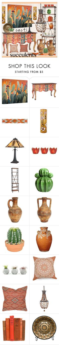 """""""Cacti & Succulents"""" by calamity-jane-always ❤ liked on Polyvore featuring interior, interiors, interior design, home, home decor, interior decorating, ArtWall, NOVICA, Quoizel and Ballard Designs"""