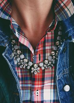 Love this! A little sparkle with your plaid. Pearls would be nice too. Pearls would add an extra southern feel to go with the plaid and denim