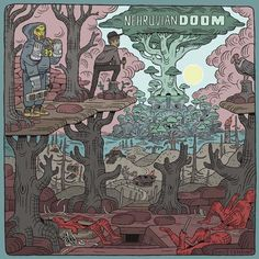 Legendary rapper MF DOOM and quickly rising up-and-comer Bishop Nehru are set to release their new collaborative album NehruvianDOOM on September Mf Doom Albums, Chakras, Bishop Nehru, Hiphop, Cover Art, Twilight, First Day Of Class, Pochette Album, Best Albums