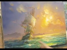 ***PAINTING THE SHIP Seascape. Oil painting. How to paint sailboat oil.